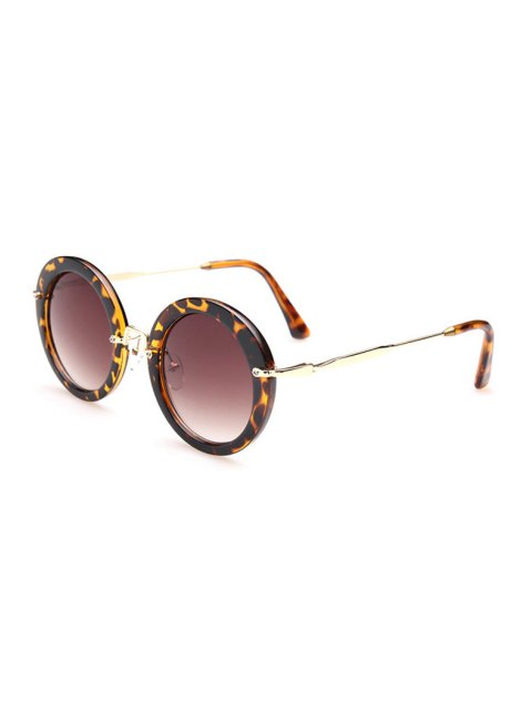 women's Leopard Pattern Round Sunglasses - DEEP BROWN  Mobile