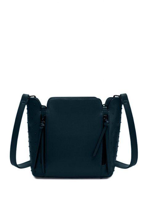 outfit Rivets Zips Solid Color Shoulder Bag - DEEP GREEN  Mobile