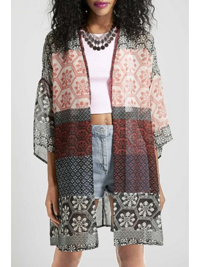 Open Front Half Sleeve Printed Kimono Blouse - Colormix L