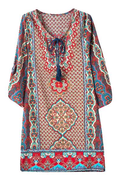 V-Neck 3/4 Sleeve Ethnic Print Straight Dress