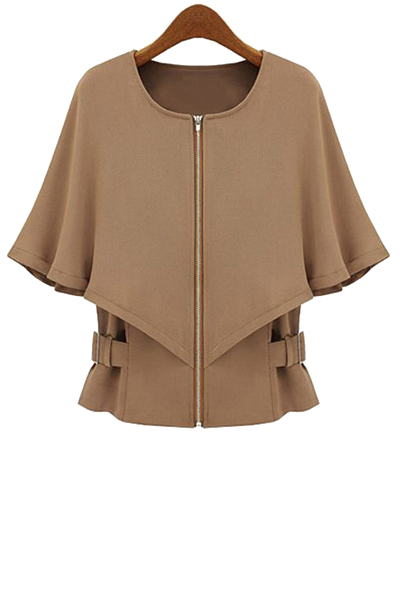Round Color Half Sleeve Solid Color Cape Coat