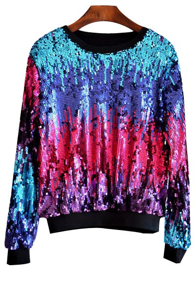 Round Neck Long Sleeve Multicolored Sequin Bling Sweatshirt