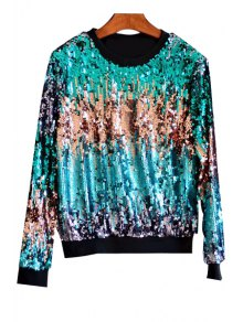 Multicolored Sequin Bling Sweatshirt