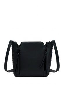 Rivets Zips Solid Color Shoulder Bag - Black