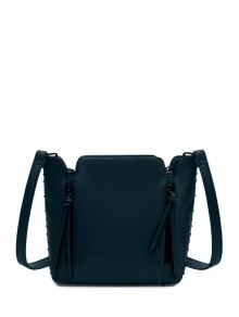 Rivets Zips Solid Color Shoulder Bag