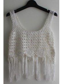 Sleeveless Tassel Crochet Cover-Up - White