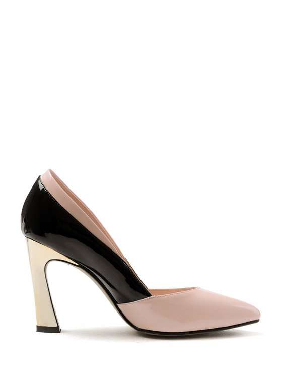 Bow Color Block Chunky Heel Pumps - PINK 39 Mobile