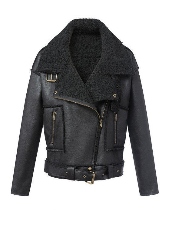 latest Suede Lapel Collar Long Sleeve Jacket - BLACK L