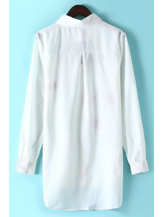 Lips Print Shirt Collar Long Sleeve Shirt - WHITE S Mobile