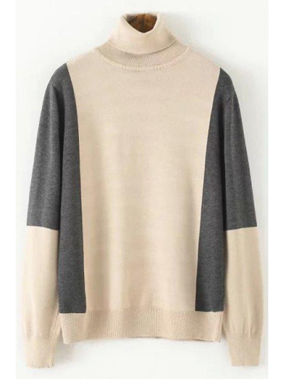 Suéter de cuello largo de la manga del bloque del color de la tortuga - CaquiClaro Un tamaño(Montar tam