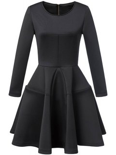 Waisted Round Collar Long Sleeve Ball Gown Dress - Black S