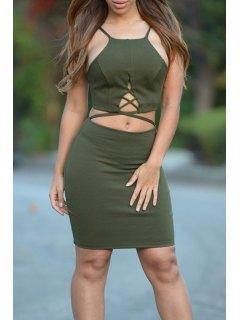 Spaghetti Strap Bare Midriff Club Dress - Army Green L