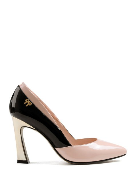affordable Bow Color Block Chunky Heel Pumps - PINK 39 Mobile