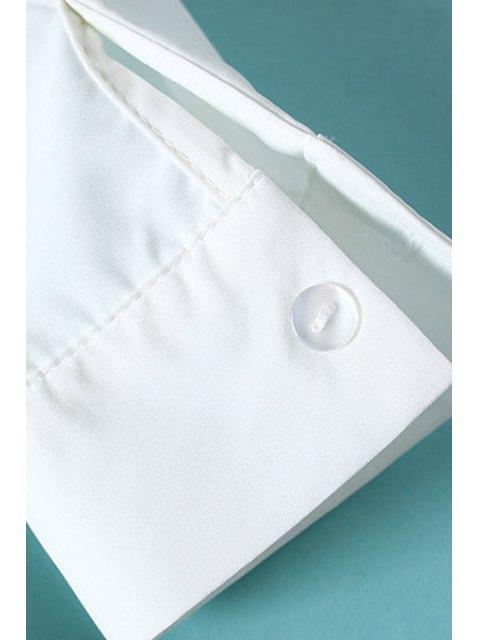 online Lips Print Shirt Collar Long Sleeve Shirt - WHITE S Mobile