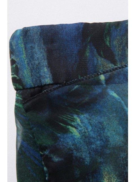 latest Floral Print Chiffon Palazzo Pants - BLACKISH GREEN L Mobile