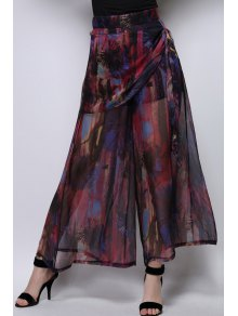 Floral Print Chiffon Palazzo Pants - Wine Red Xl