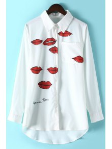 Lips Print Shirt Collar Long Sleeve Shirt