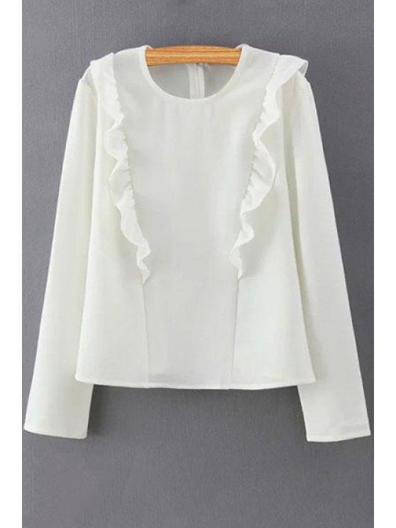 Solide collier couleur volants ronde Blouse manches longues - Blanc M