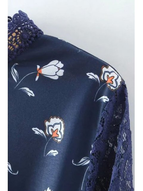 trendy Printed Stand Collar 3/4 Sleeve Lace Spliced Dress - PURPLISH BLUE L Mobile