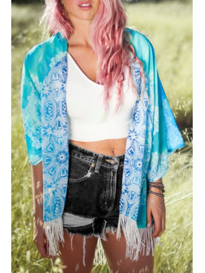 3/4 Sleeve Fringed Floral Print Kimono Blouse - Water Blue L