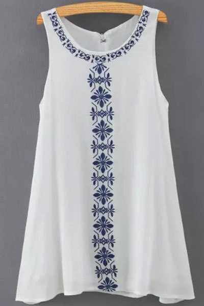 Round Collar Sleeveless Embroidery Print Dress