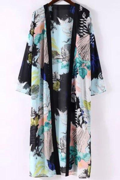 3/4 Sleeve Printed Long Kimono Blouse