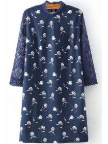 Printed Stand Collar 3/4 Sleeve Lace Spliced Dress