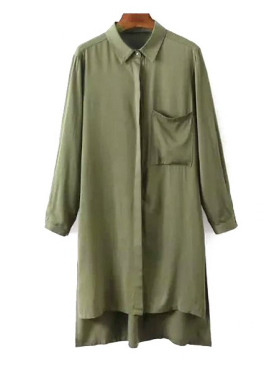 online Side Slit Turn Down Collar Long Sleeve Shirt - ARMY GREEN S