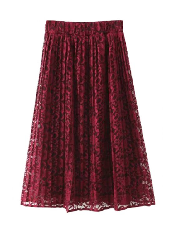 womens A-Line Lace High-Waisted Skirt - WINE RED M