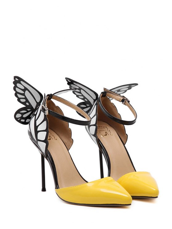 Butterfly Pointed Toe Ankle Strap Pumps - YELLOW 39 Mobile