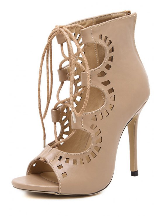 Hollow Out Cross-Strap Peep Toe Shoes - NUDE 39 Mobile