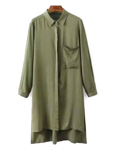 Chemise femme à manches longues à col de chemise avec fente latéral - Vert Armée S Mobile