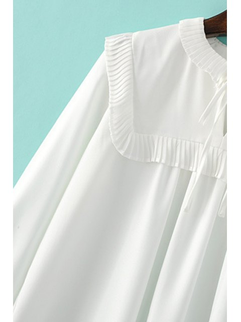 fashion Pleated Spliced Turn Down Collar Long Sleeve Blouse - WHITE L Mobile