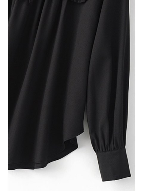 latest Pleated Spliced Turn Down Collar Long Sleeve Blouse - BLACK L Mobile