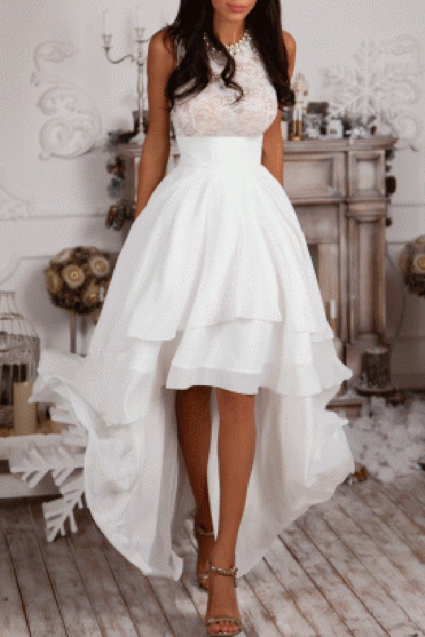 Sleeveless High Low White Prom Dress White Summer Dresses