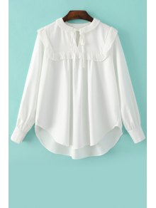 Pleated Spliced Turn Down Collar Long Sleeve Blouse