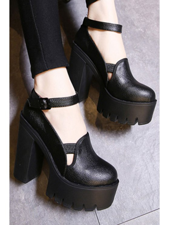 Ankle Strap Platform Chunky Heel Pumps - BLACK 37 Mobile