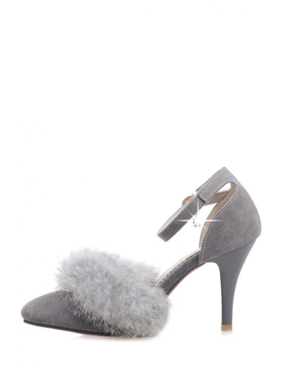 Faux Fur Suede Ankle Strap Pumps - GRAY 39 Mobile
