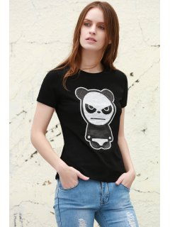 Sequined Panda Pattern Short Sleeve T-Shirt - Black S