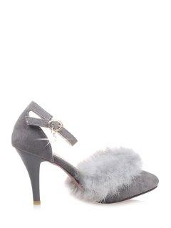 Faux Fur Suede Ankle Strap Pumps - Gray 39