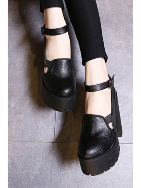 women Ankle Strap Platform Chunky Heel Pumps - BLACK 39 Mobile