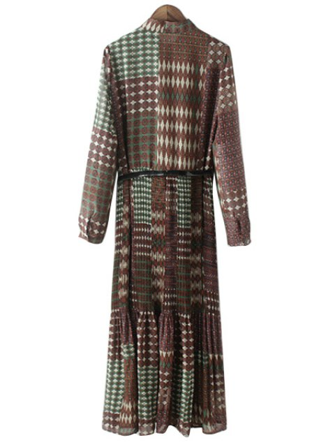 lady Vintage Print Stand Collar Long Sleeve Dress - GREEN S Mobile