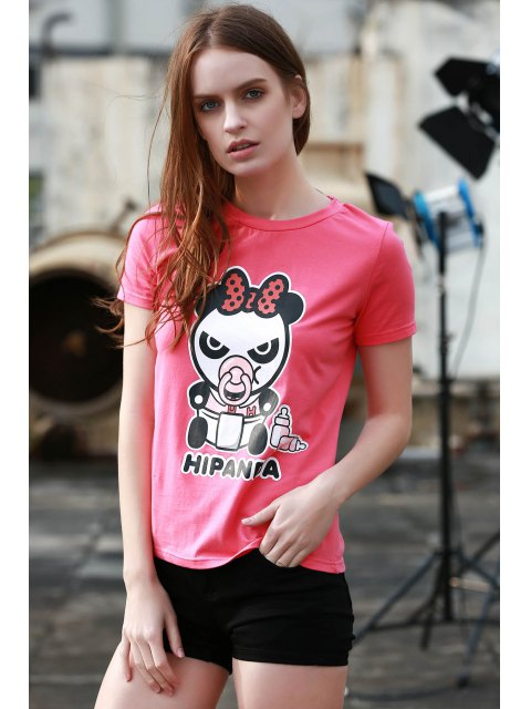buy Cartoon Panda Pattern Tee - ROSE XL Mobile