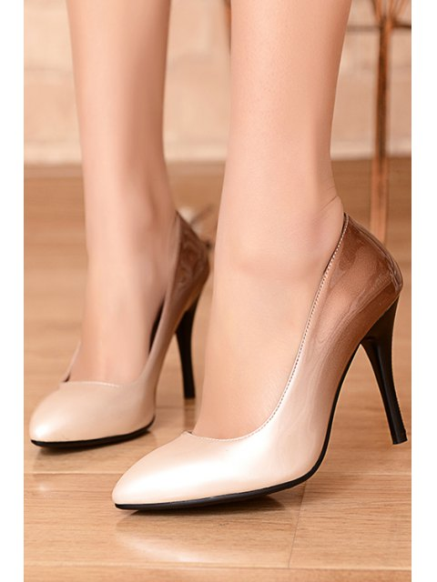 womens Gradient Color Pointed Toe Stiletto Heel Pumps - APRICOT 34 Mobile
