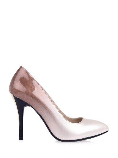 Gradient Color Pointed Toe Stiletto Heel Pumps - APRICOT 34 Mobile