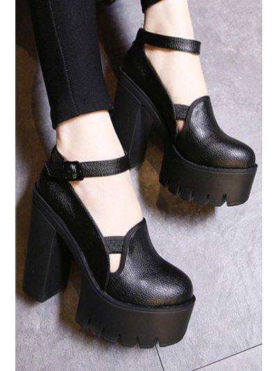 Ankle Strap Platform Chunky Heel Pumps - BLACK 39 Mobile