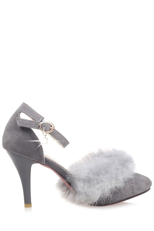 Faux Fur Suede Ankle Strap Pumps