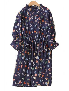 Leaf Print Stand Collar 3/4 Sleeve Dress