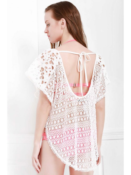 Hollow Out Slit Cover-Up - WHITE S Mobile