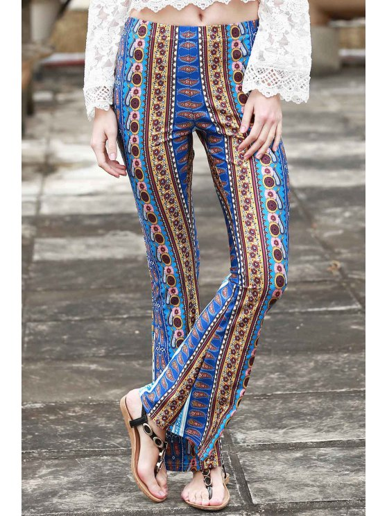 Border Print Bell Pants - BLUE L Mobile